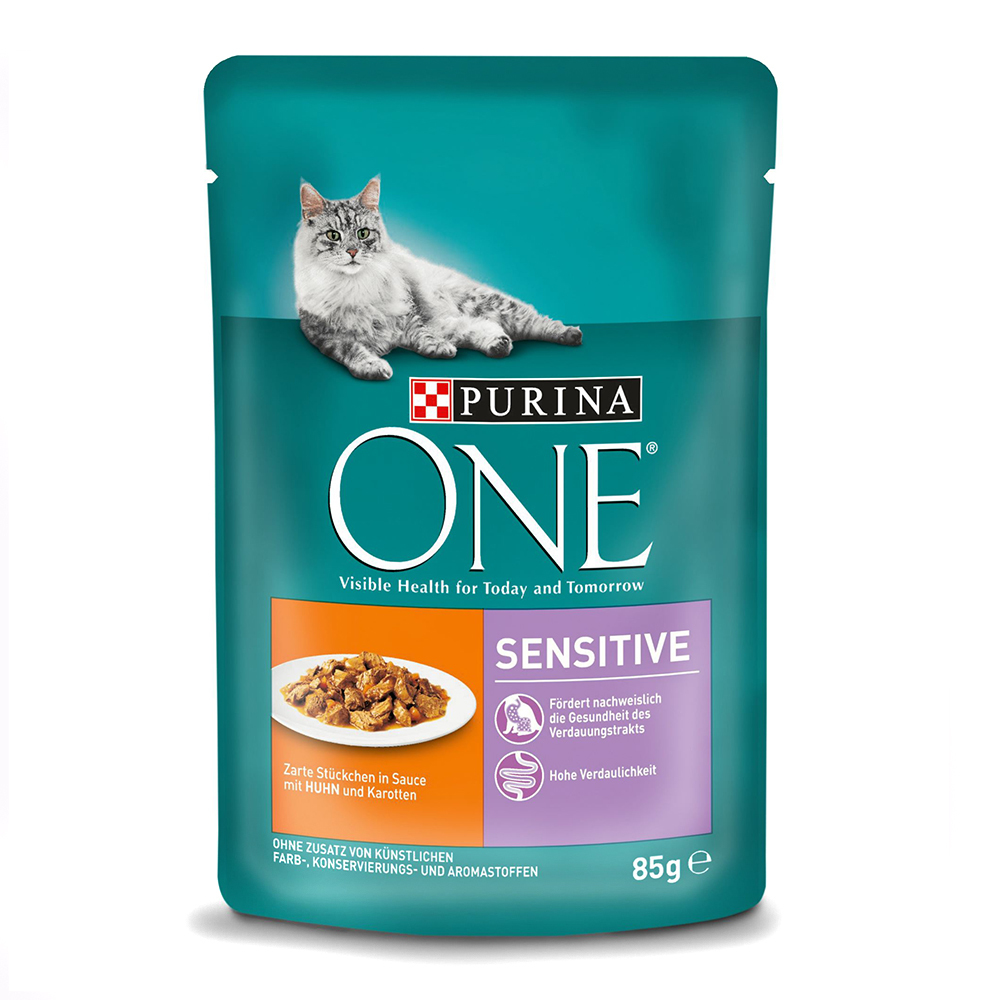 Purina ONE Mini file cu pui si morcov in sos, Sensitive, 85 g