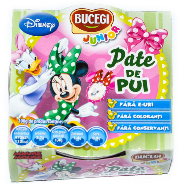 Pate de pui Bucegi Junior Disney Minnie, 120g