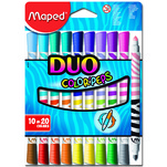 Set carioci Maped Duo Color'peps 10 bucati, 20 culori