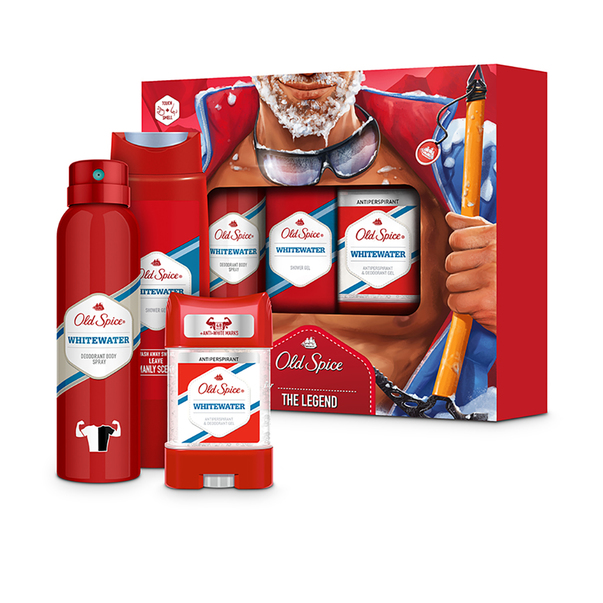 Set cadou Old Spice Whitewater deodorant spray, gelul de dus si antiperspirant