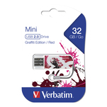 Stick de memorie Verbatim Mini graffiti red edition cu capacitate de 32GB, USB 2.0