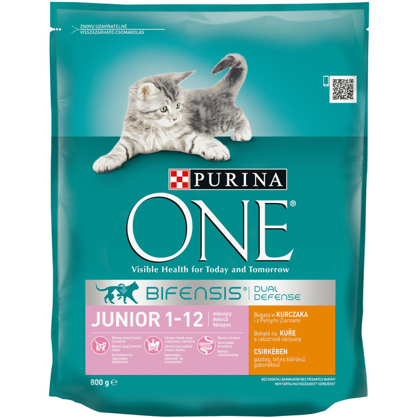 Purina ONE Junior cu pui si cereale integrale, 800g