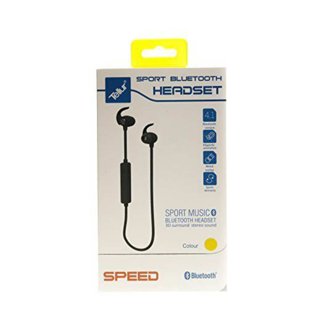 Casti sport bluetooth Tellur Sport Speed galbene in ear cu microfon
