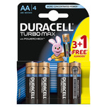 Baterie Duracell Turbo Max AA 3 + 1 gratis