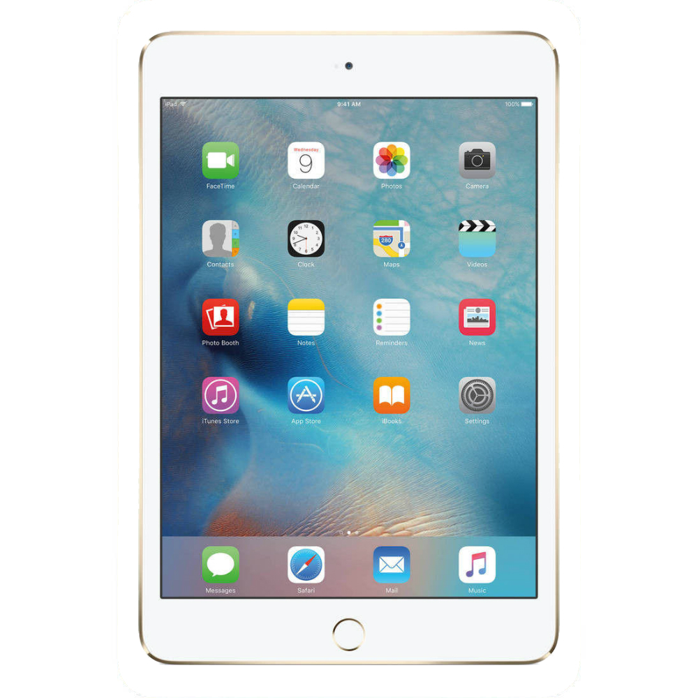 Tableta Apple iPad Mini 4 aurie Wi-Fi cu ecran de 7.9 inchi si memorie de 16GB