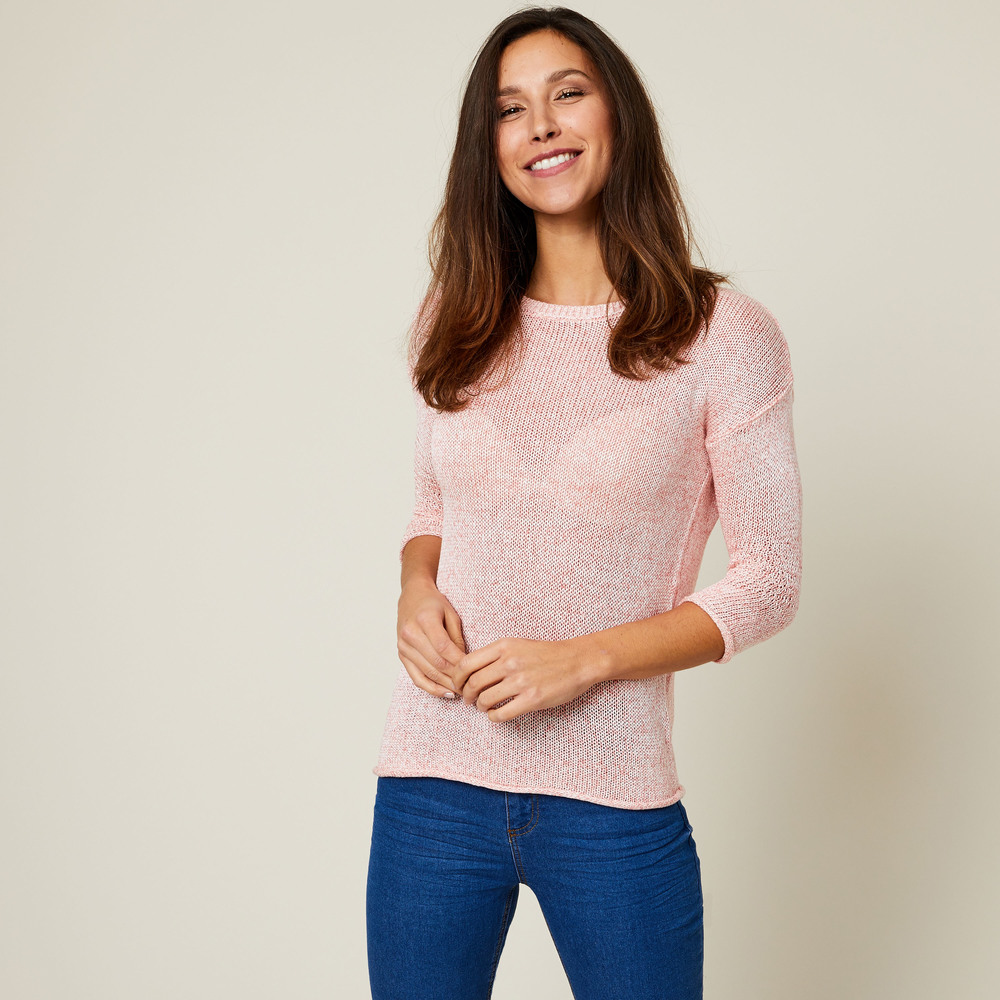 Pulover INEXTENSO cu maneca 3/4 din tricot, model inspicat - Roz