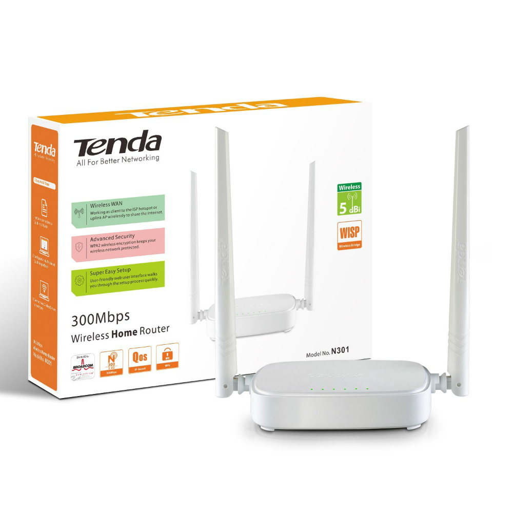 Router wireless Tenda FH456 cu viteze de transfer de pana la 300Mbps