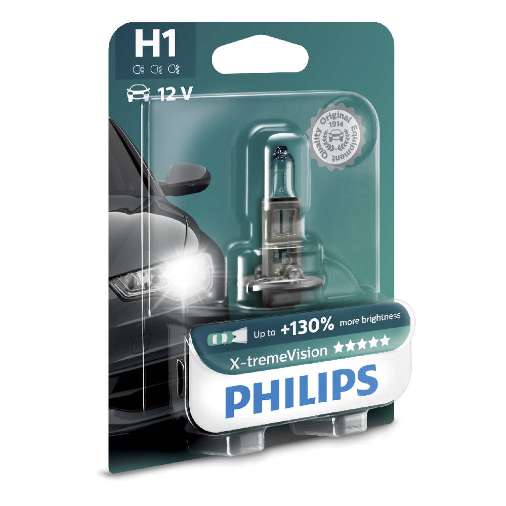 Bec far auto Philips X-treme Vision H1 12V 55W cu halogen