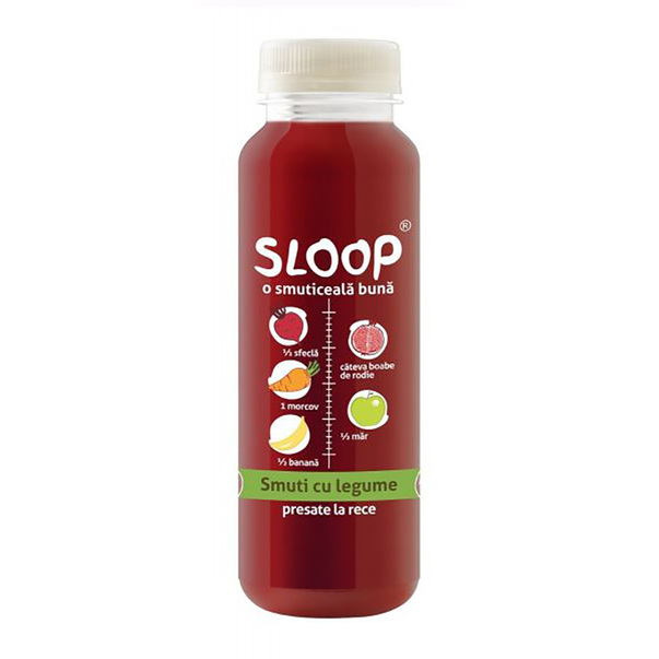 Suc natural Sloop Smoothie de sfecla si rodii, 250 ml