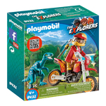 Set Playmobil The Explorers Dinos - Motociclist si raptor