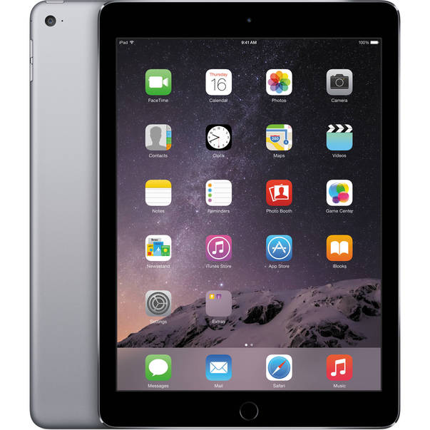 Tableta Apple iPad Air 2 cenusie 4G si Wi-Fi cu ecran de 9.7 inch si memorie de 16GB