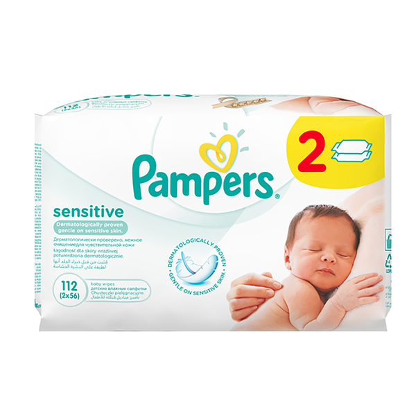 Servetele umede Pampers Sensitive Baby 2 pachete, 112 bucati