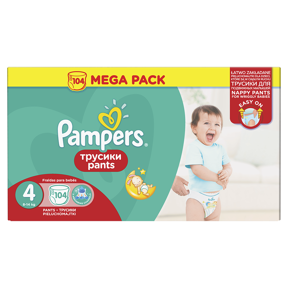Scutece Pampers Pants Nr. 4 Mega Box Maxi, 104 bucati