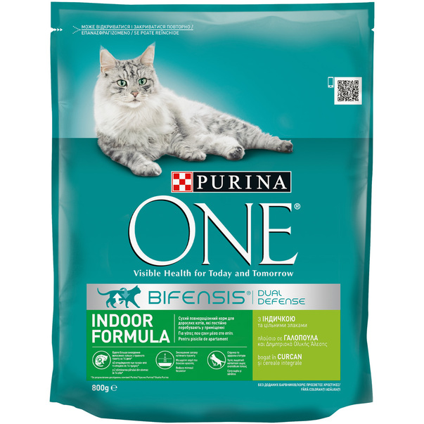 Purina ONE Indoor Adult cu curcan si cereale integrale, 800g