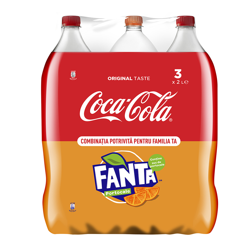Pachet 3 sticle Coca-Cola si Fanta Orange 2L