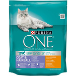 Purina ONE Coat si Hairball Adult cu pui si cereale integrale, 800g