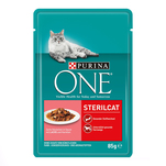 Purina ONE Mini file cu somon si morcovi in sos, Sterilcat, 85 g