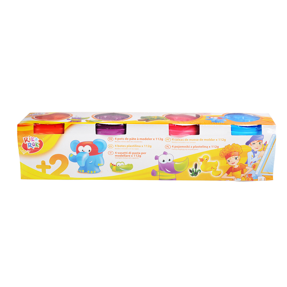 One Two Fun - 4 recipiente cu plastelina de modelat 112 g