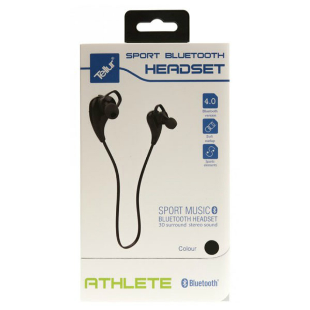 Casti sport bluetooth Tellur Sport Athlete negre in ear cu microfon