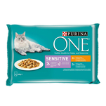 Purina ONE Mini file cu pui si morcov in sos, Sensitive, 4 x 85 g