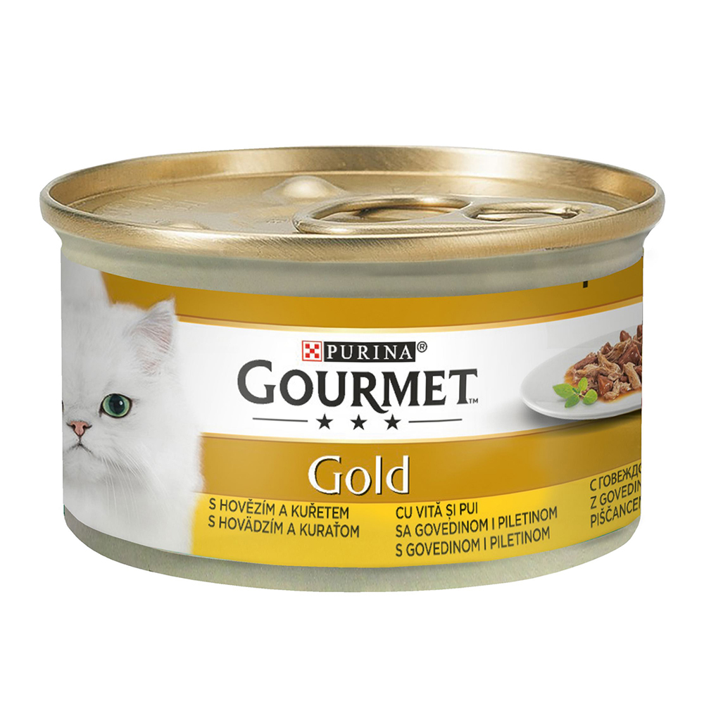 Gourmet Gold Double Pleasure cu vita si pui in sos, 85g