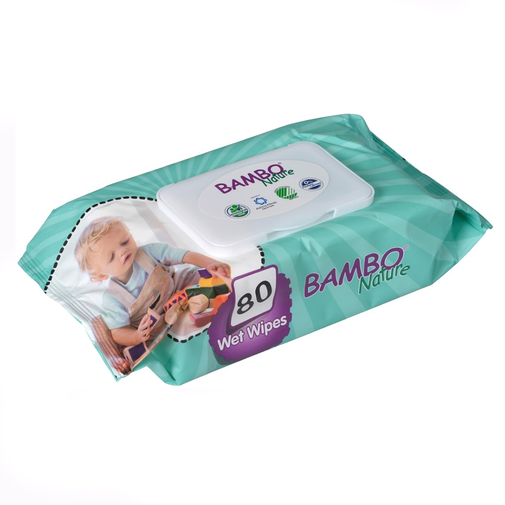 Servetele umede de unica folosinta Bambo Nature Baby Wet Wipes, 80 bucati