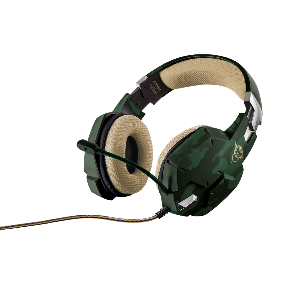 Casti gaming Trust GXT 322C green camouflage over the ear cu microfon flexibil